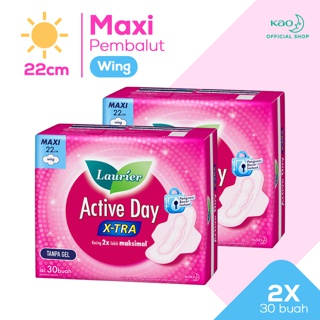 Laurier Pembalut Wanita Active Day X-TRA Wing 22cm isi 30pcs